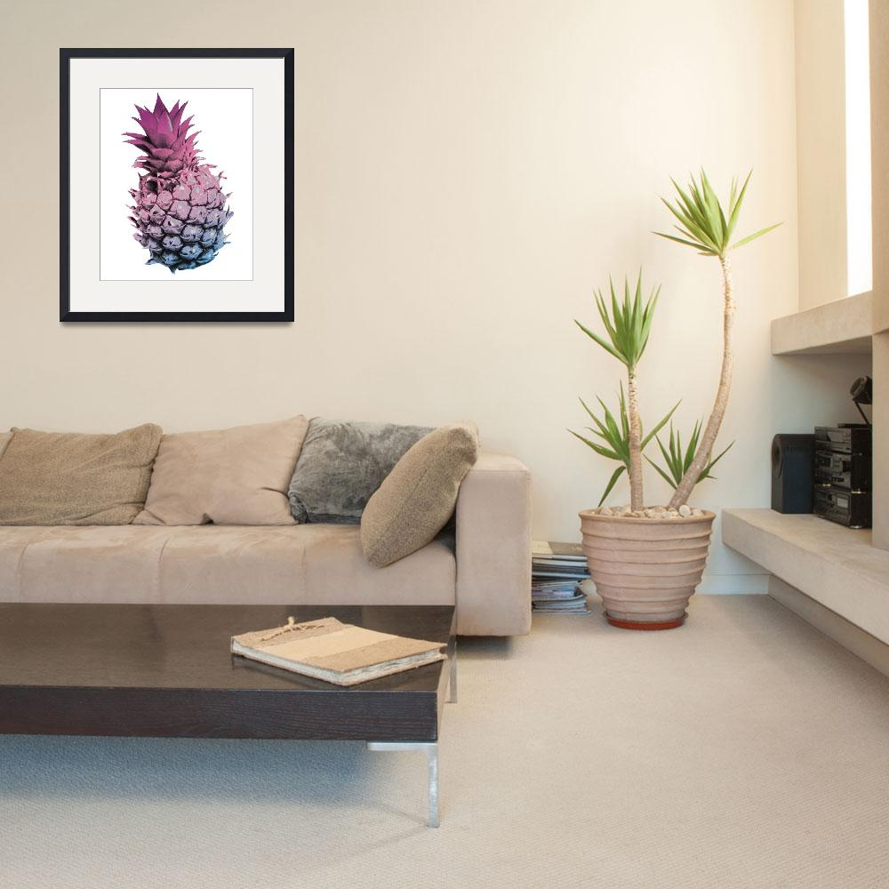 """""""Pink Purple and Blue Pineapple&quot  (2016) by ValeriesGallery"""