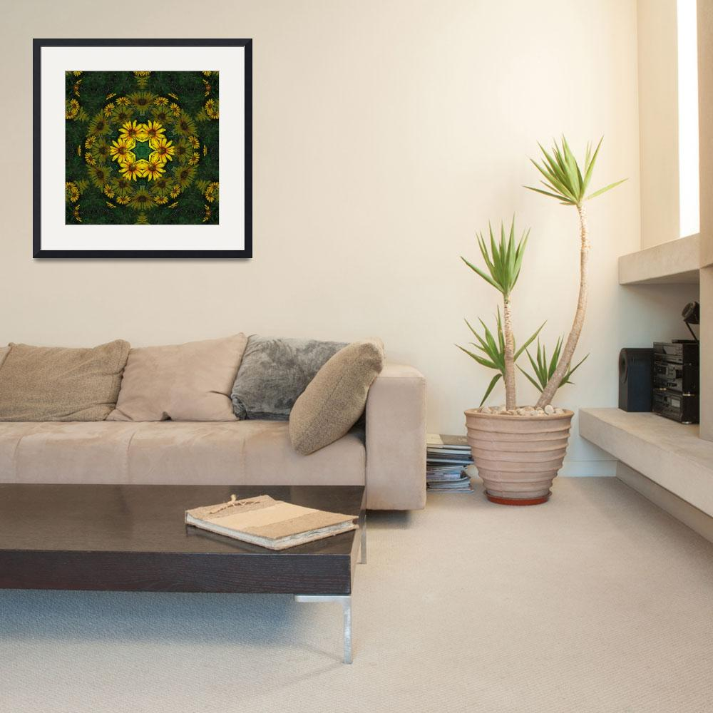 """Large Yellow Wildflower Kaleidoscope Art 10&quot  (2009) by ChristopherInMexico"
