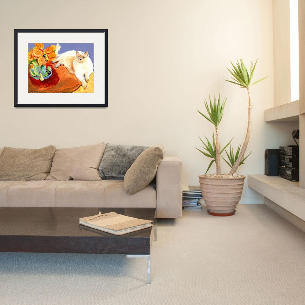 """""""Cat and Flowers, painting by RD Riccoboni&quot  (2009) by RDRiccoboni"""