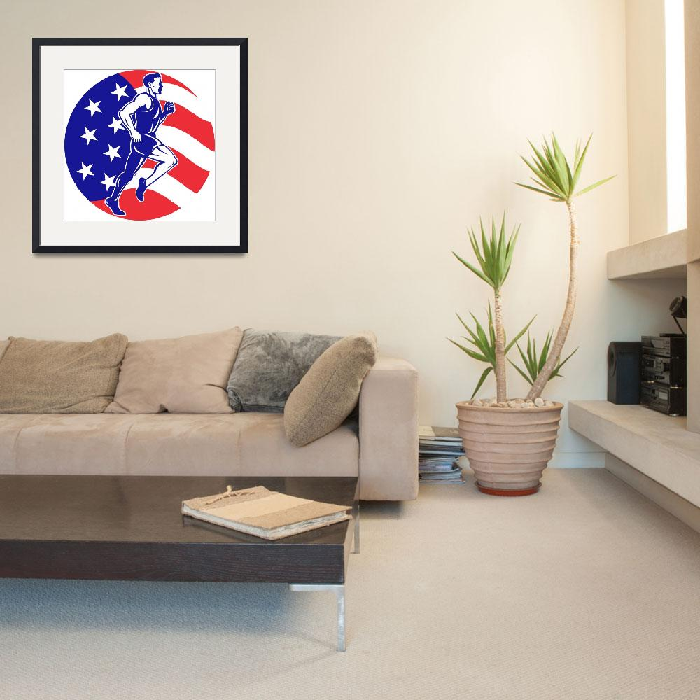 """American Marathon runner stars stripes flag""  (2013) by patrimonio"