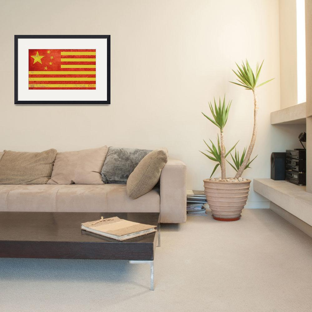 """""""Chinese American Flag&quot  (2013) by RubinoFineArt"""
