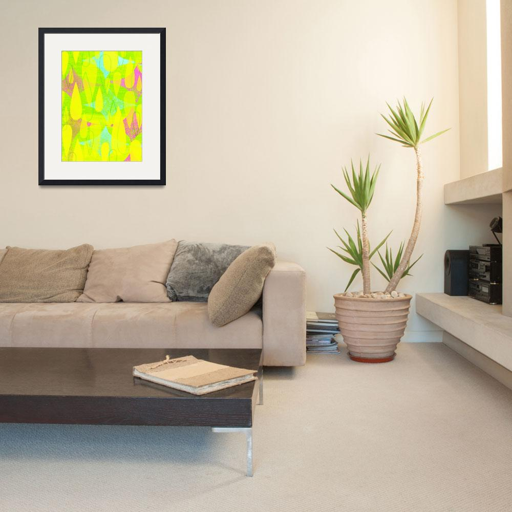 """Mid Century Modern Print - Yellow and Pink&quot  (2012) by jpprintparlor"