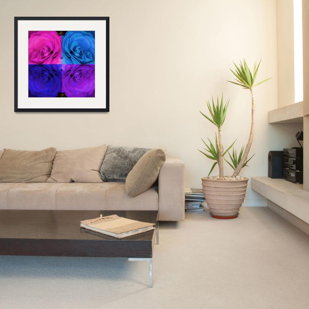 """Majid 4x4 Rose pink purple blue center rotated""  (2009) by LeslieTillmann"