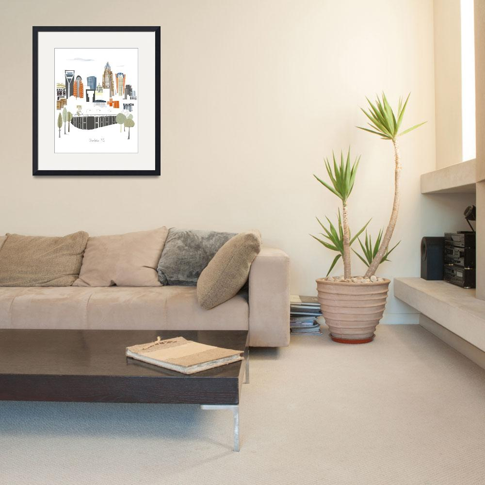 """""""Charlotte Modern Cityscape Illustration""""  by AlbieDesigns"""