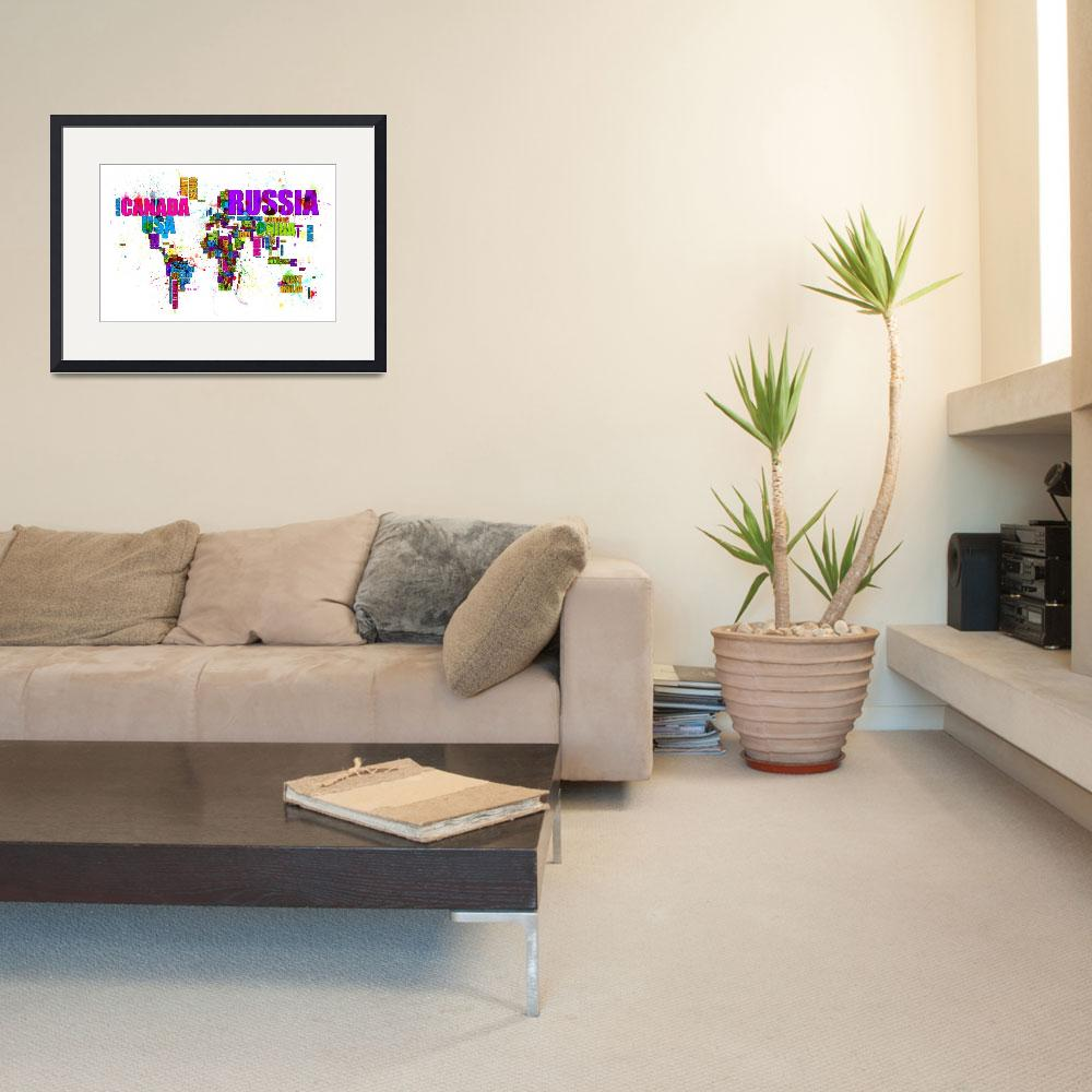 """""""Paint Splashes Text Map of the World&quot  by ModernArtPrints"""