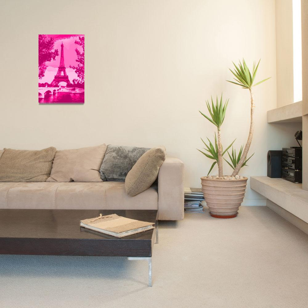 """Eiffel Tower Seine River Enhanced Pink""  (2013) by TheNorthernTerritory"