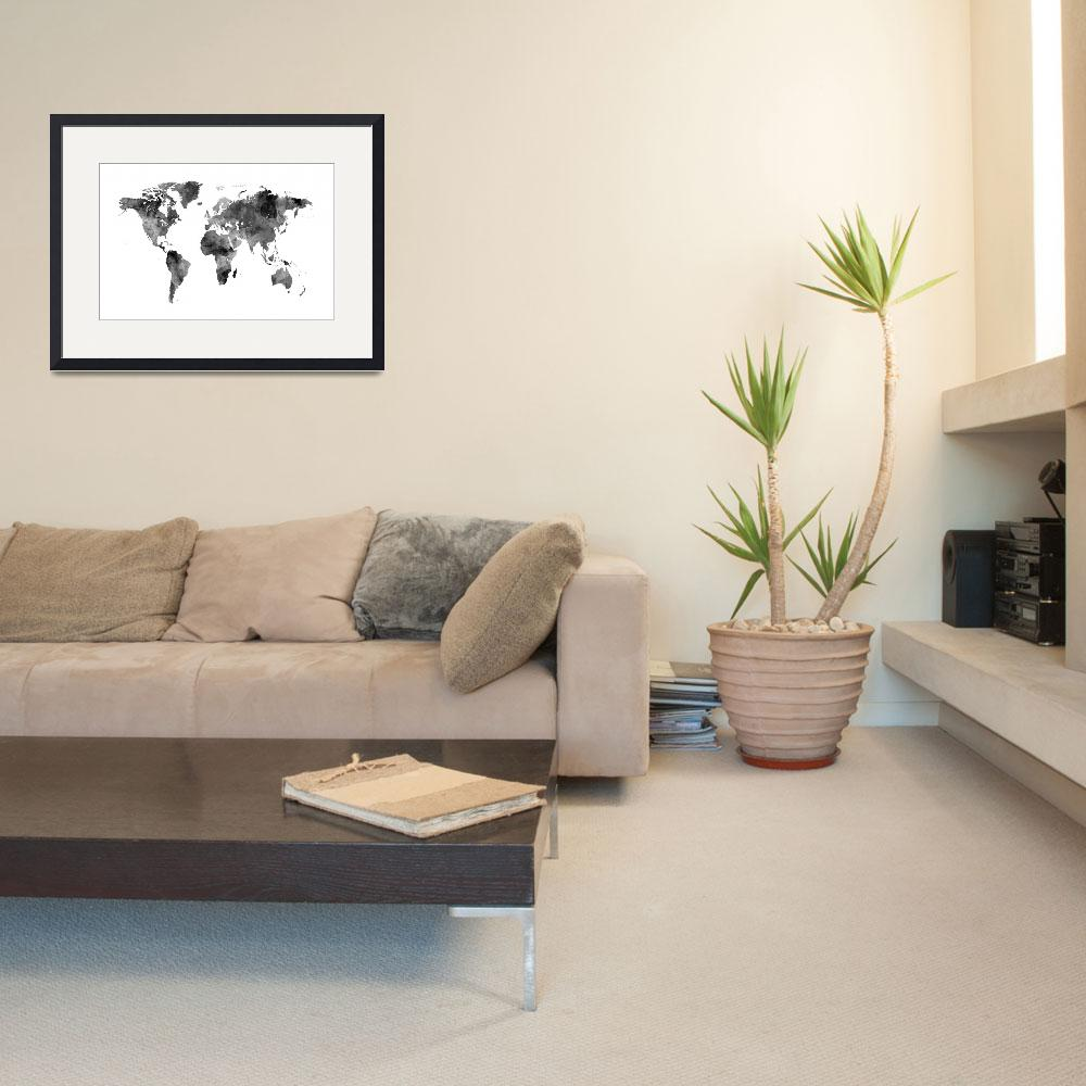 """Map of the World Map Watercolor&quot  (2016) by ModernArtPrints"