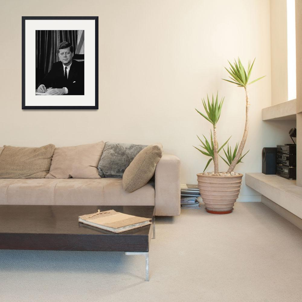 """""""Vector portrait of John F. Kennedy sitting at his""""  by stocktrekimages"""