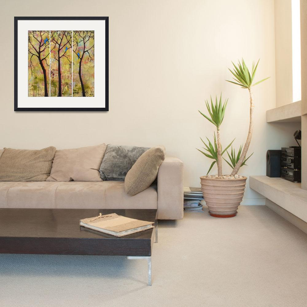 """""""Birds in Trees Triptych Art Painting&quot  (2008) by BlendaStudio"""