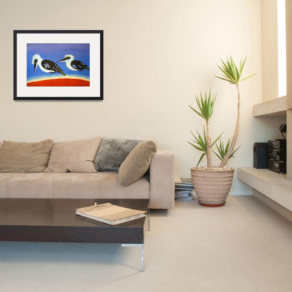 """THE SHORT-SIGHTED BLUE WINGED KOOKABURRA (AUSTRALI&quot  (2010) by RoseLangfordPrints"