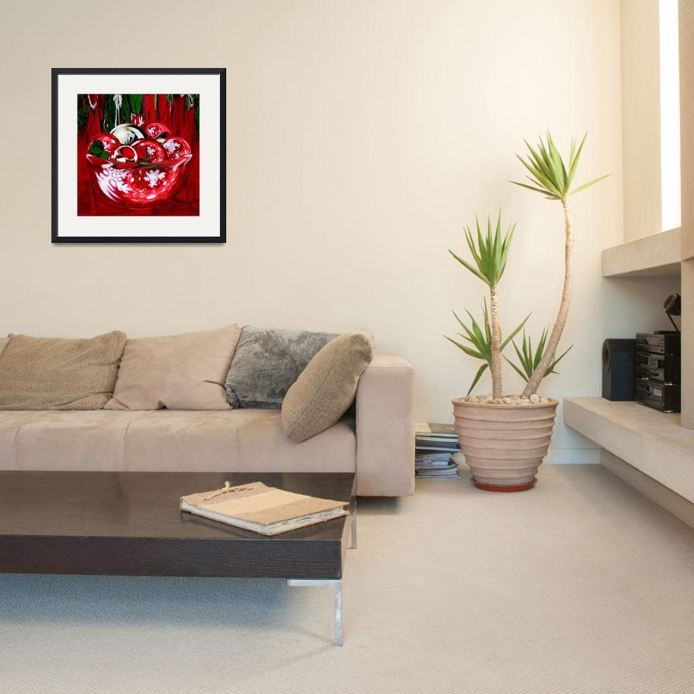 """""""A Christmas Bowl of Poinsettia Circles&quot  (2010) by tricia"""