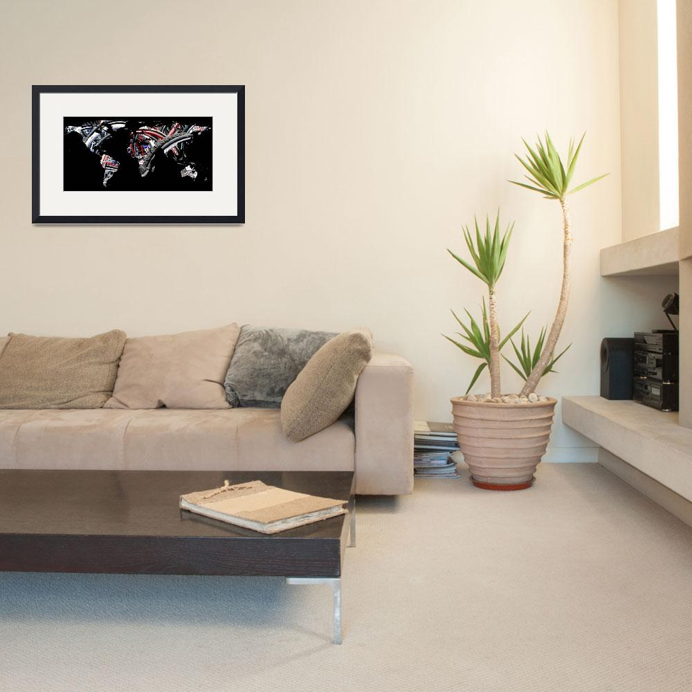 """""""World Map Silhouette - Bike Tires&quot  by Alleycatshirts"""