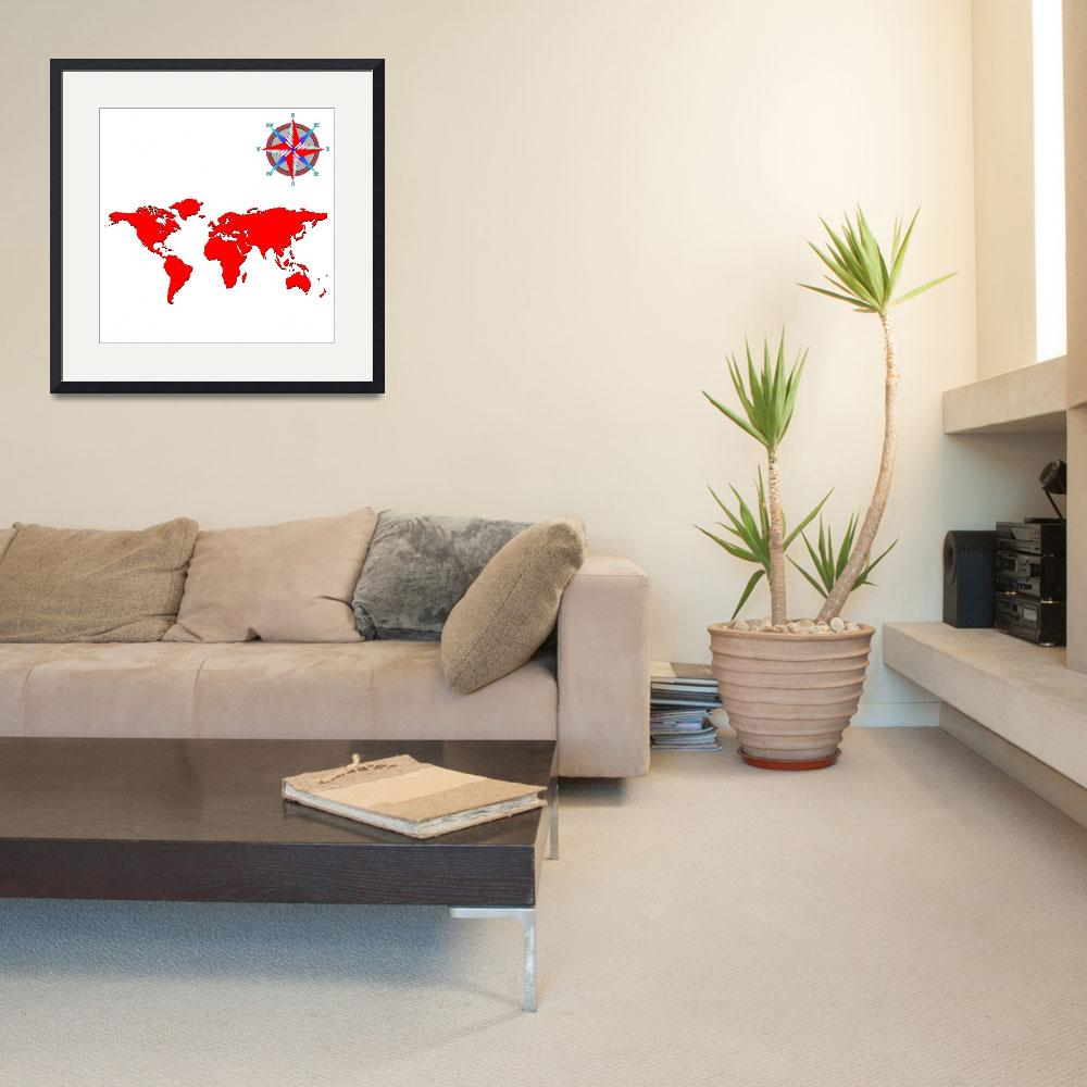 """""""red world map with wind rose&quot  by robertosch"""