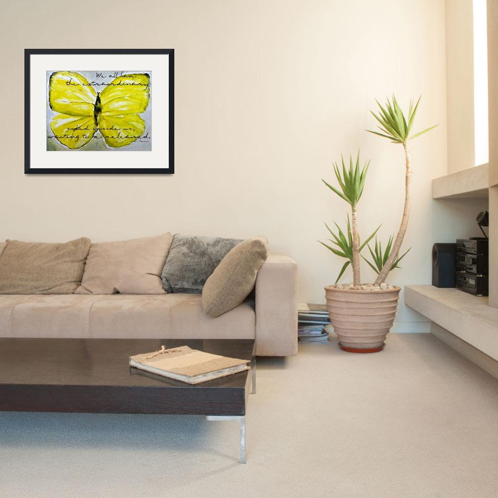 """""""Yellow Buttercup Butterfly With Quote Overlay&quot  (2011) by nataliecardon"""