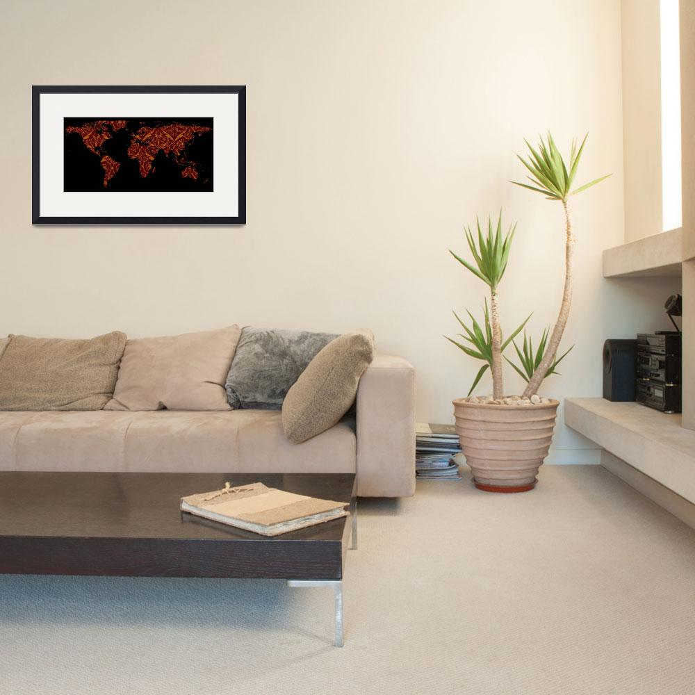 """World Map Silhouette - Orange & Red Floral Patten""  by Alleycatshirts"