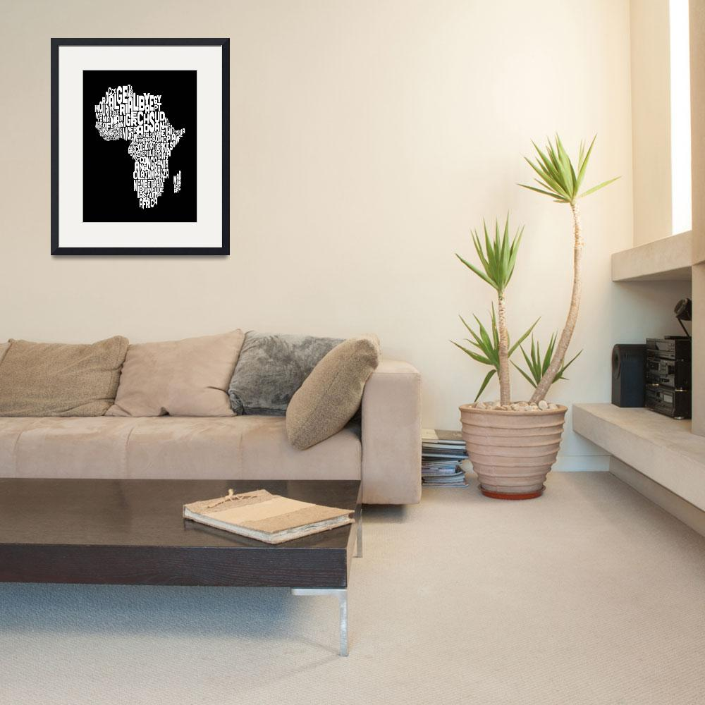 """""""Typography Text Map of Africa Map&quot  (2012) by ModernArtPrints"""