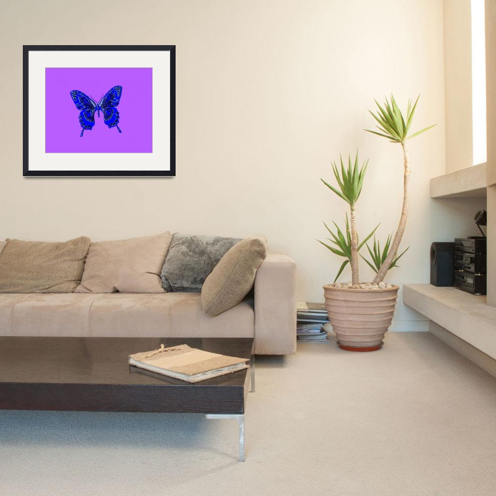 """""""Blue Butterfly Lavender Background&quot  (2013) by TheNorthernTerritory"""