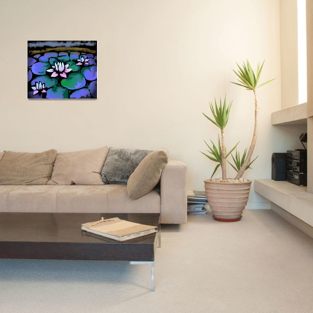 """""""Digital painting of lotus in colour background""""  (2009) by digitalpainting"""