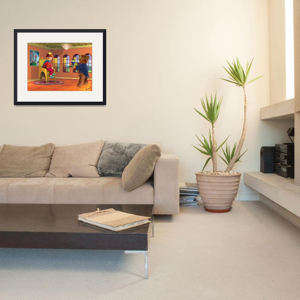 """orange,kids art,childrens room,boy,teddybear,red&quot  (2004) by MarianneIlevitzky"