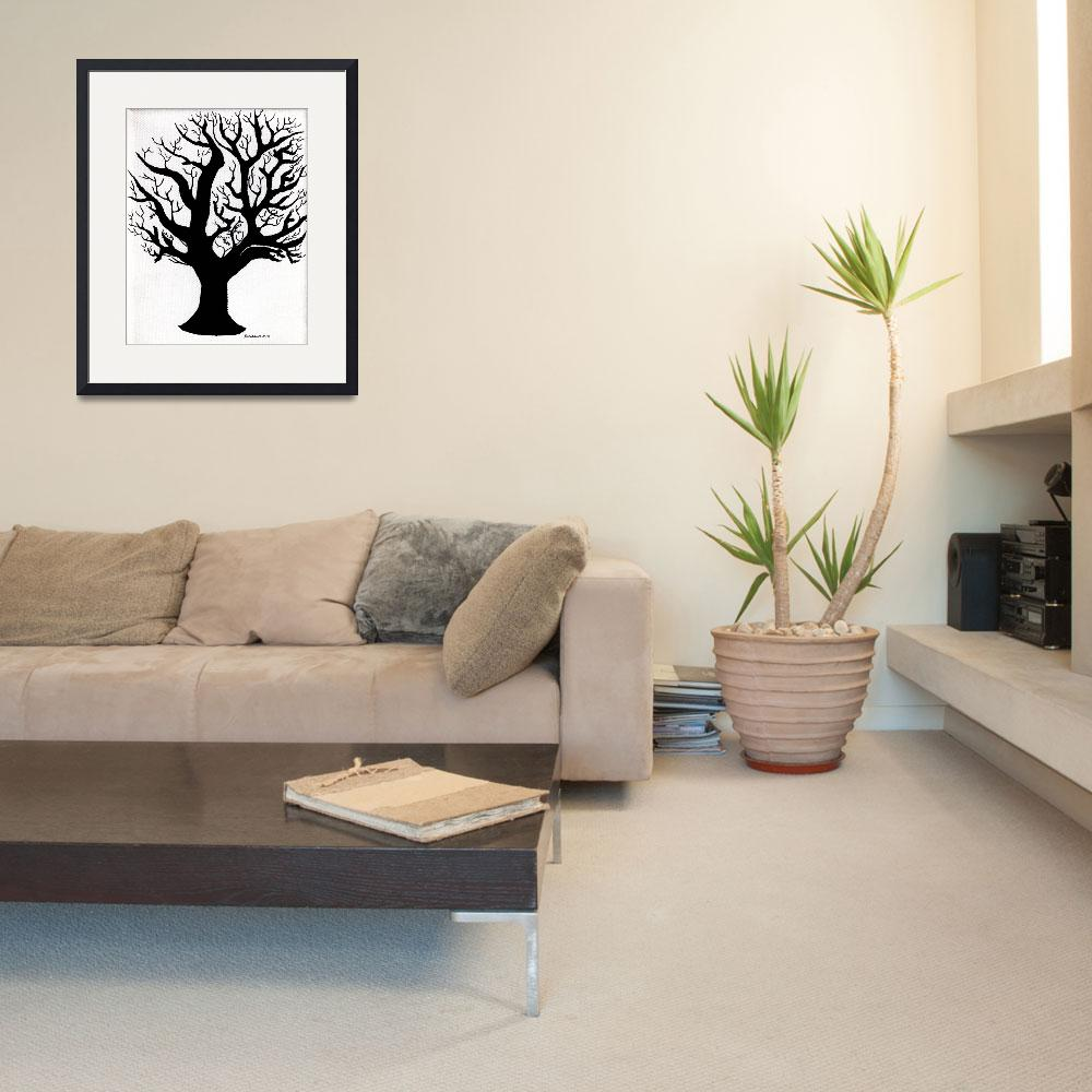 """""""Zen Sumi Tree of Life Enhanced Black Ink on Canvas&quot  (2011) by Ricardos"""