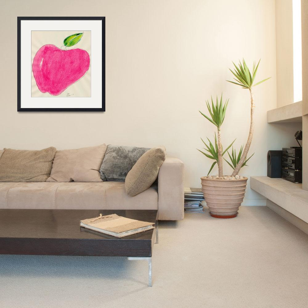 """""""RED APPLE SINGLE LINE DRAWING ONE&quot  (2007) by JerryHanks"""