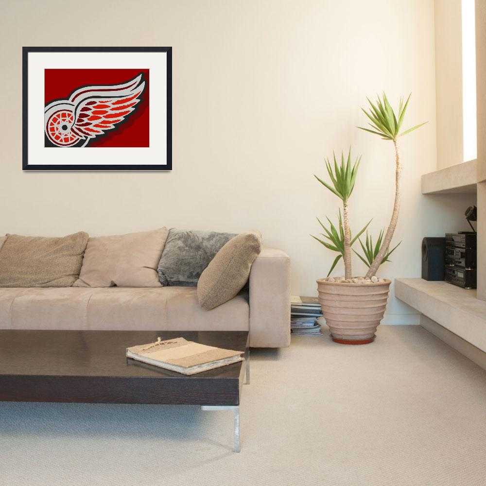 """Detroit Red Wings&quot  (2015) by RubinoFineArt"