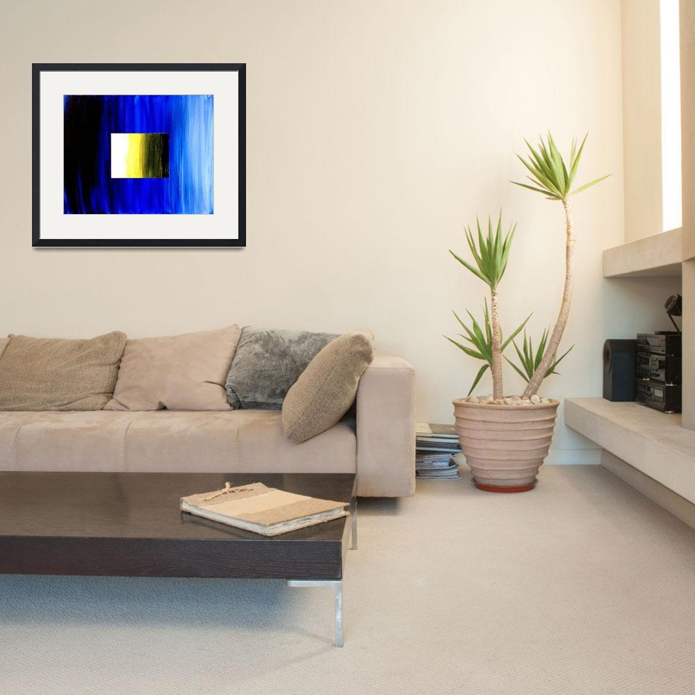 """ABSTRACT 3D BLUE GOLDEN SQUARE&quot  (2006) by teofaith"