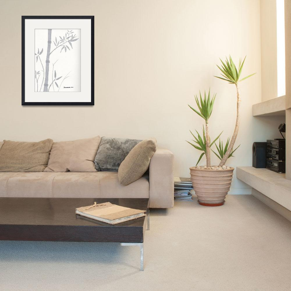 """""""Zen Sumi Bamboo 1a Ink on Watercolor Paper by Rica""""  (2011) by Ricardos"""