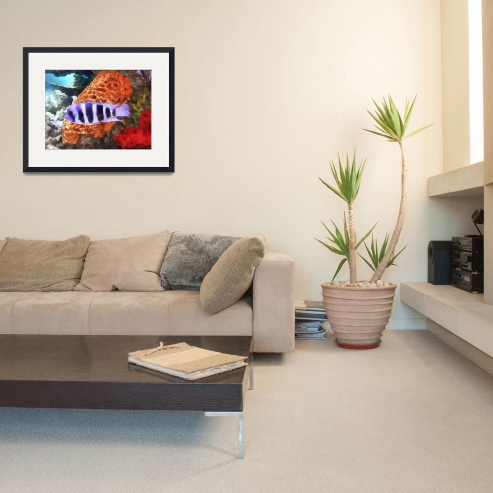 """""""Striped Tropical Fish Frontosa&quot  by susansartgallery"""