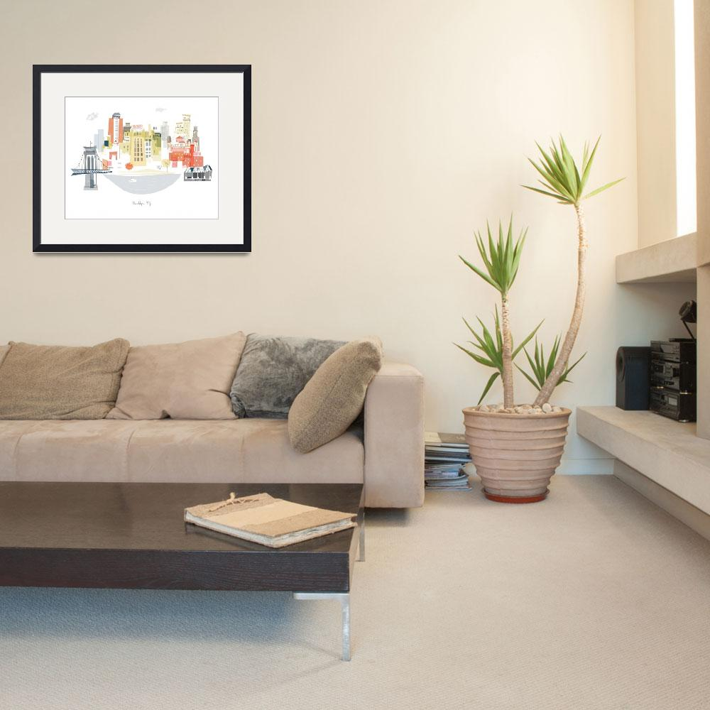 """""""Brooklyn Modern Cityscape Illustration&quot  by AlbieDesigns"""