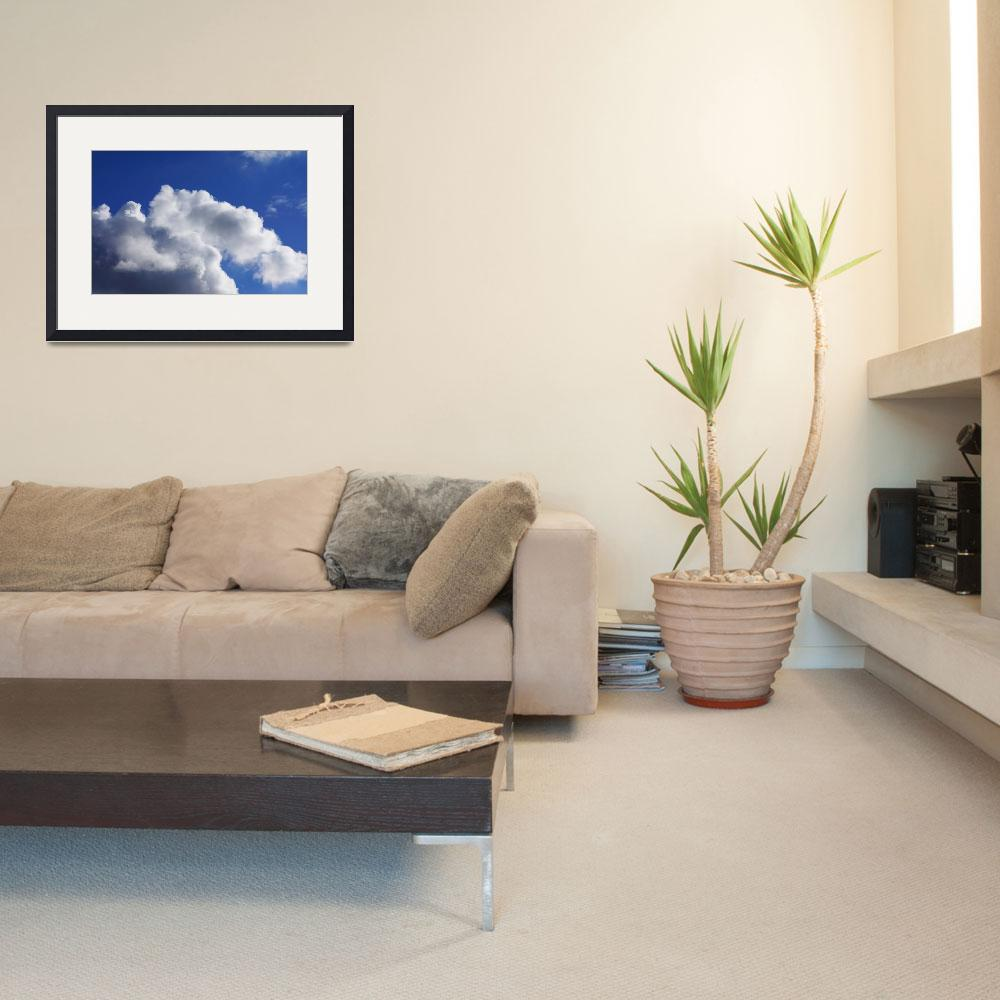 """""""Blue Sky Art prints White Clouds Canvas Framed&quot  (2014) by BasleeTroutman"""