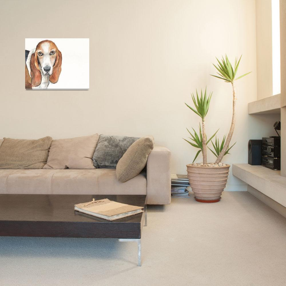 """""""Abby the Vocal Vaulting Basset&quot  (2014) by Designomel"""
