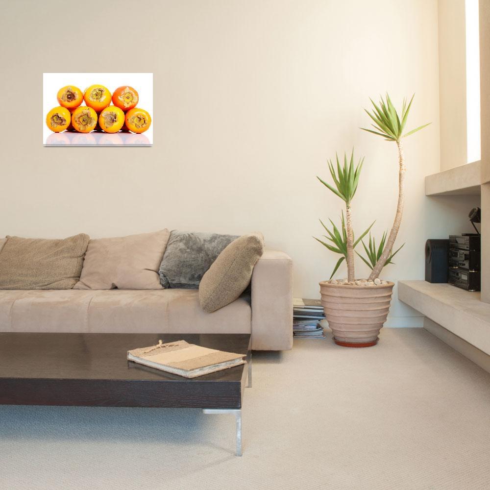 """Composition of kaki fruits over white background.""  by Piotr_Marcinski"