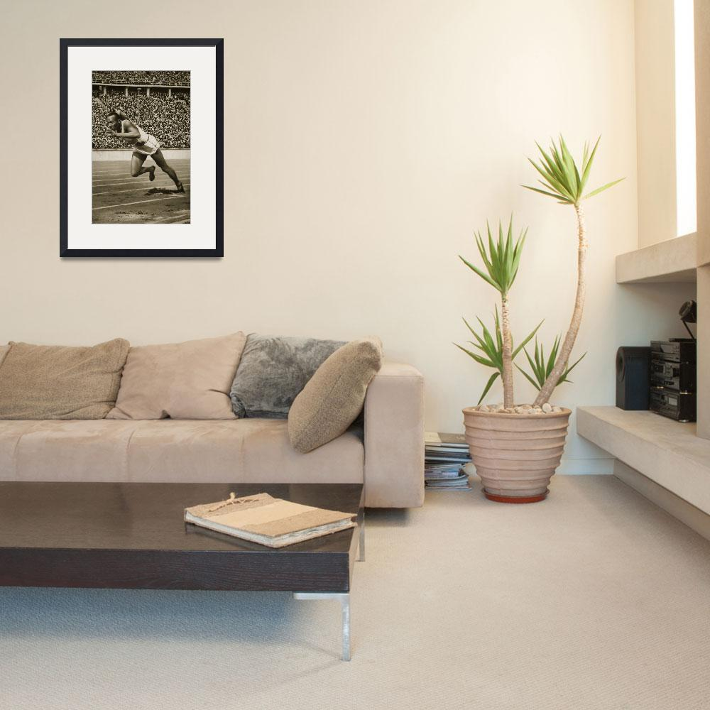"""""""Jesse Owens at the start of the 200m race at the 1&quot  by fineartmasters"""
