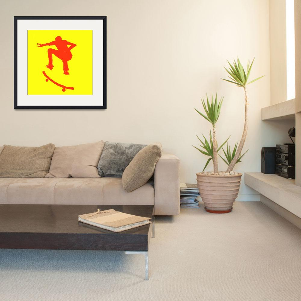 """""""Skateboarder 2 . yellow red (c)&quot  (2014) by edmarion"""