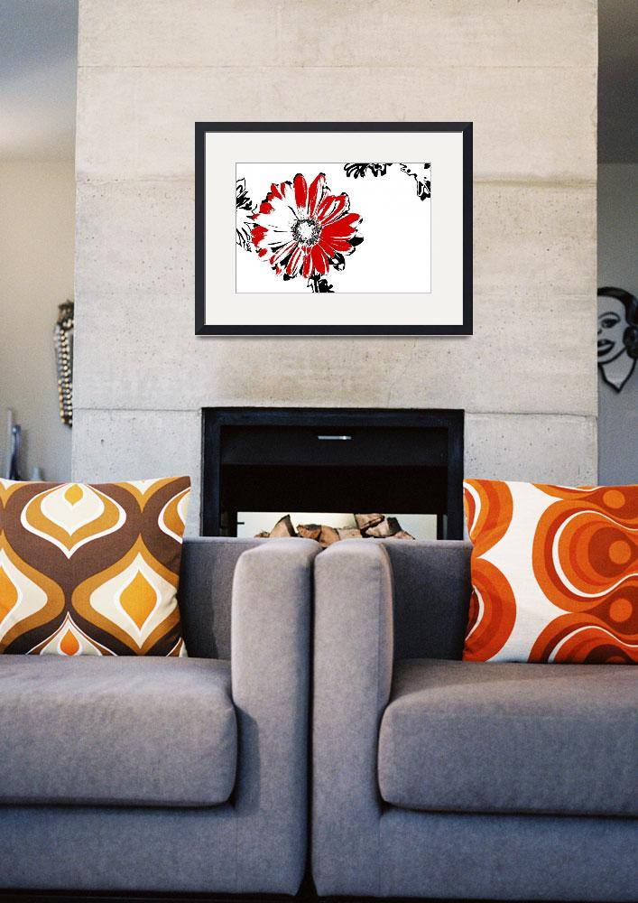 """""""Gerbera - Black White And Red Series""""  (2013) by bettynorthcutt"""