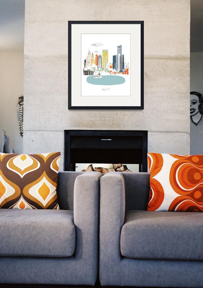 """""""Detroit Modern Cityscape Illustration""""  by AlbieDesigns"""
