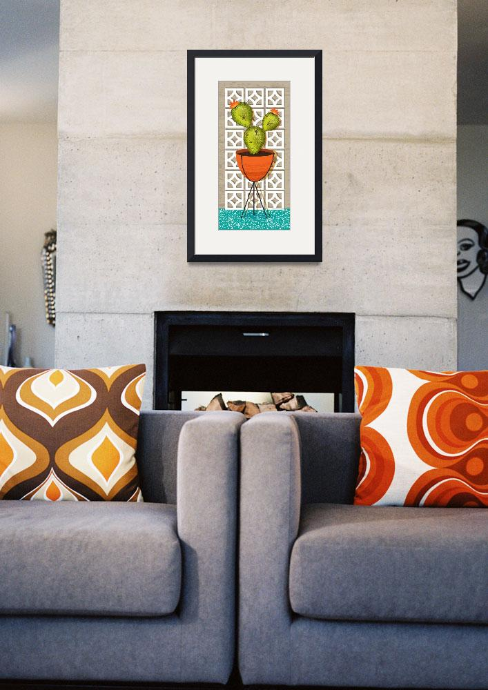 """""""Mid Century Modern Breeze Block Cactus Poster&quot  (2018) by DianeDempseyDesign"""