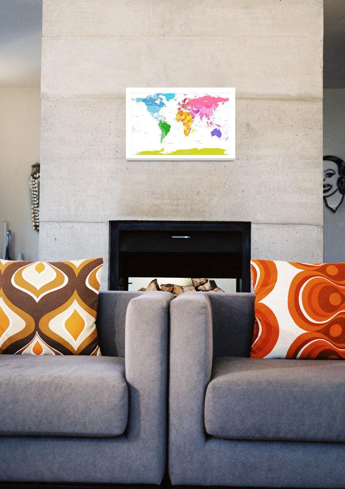 """Continents World Map&quot  (2012) by ModernArtPrints"