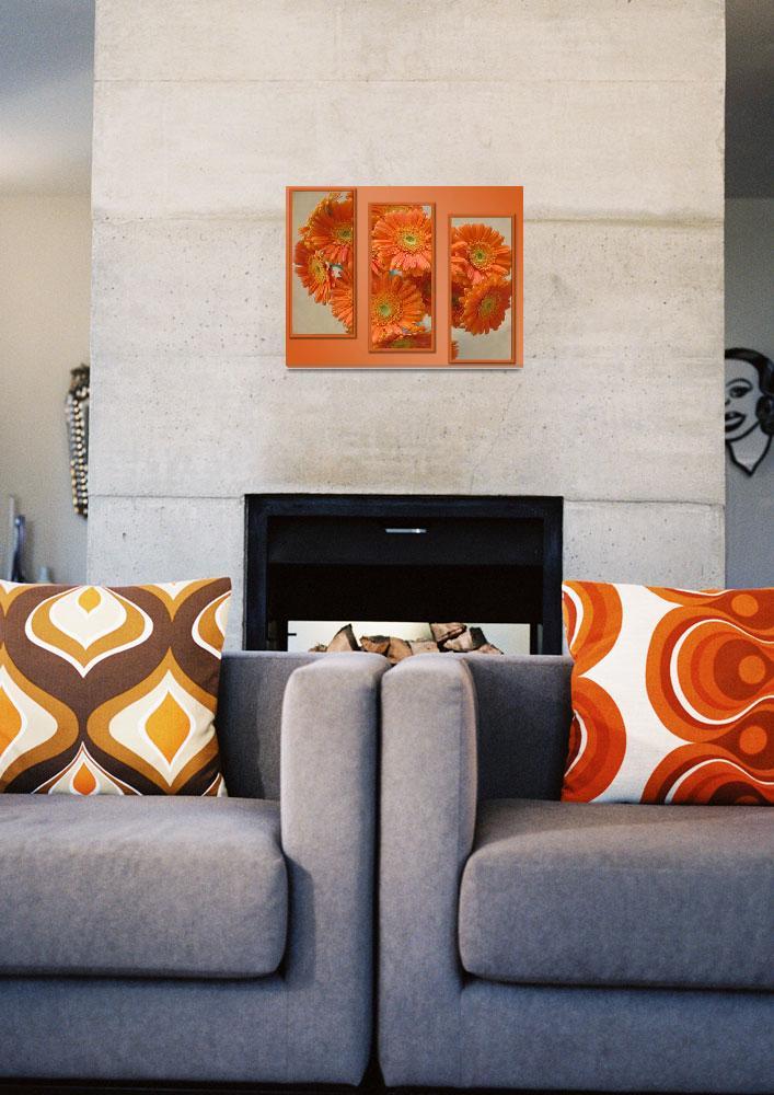 """Orange Flowers Triptych&quot  (2008) by bobsmithuk"