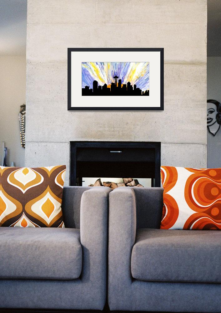 """Decorative Skyline Abstract  Seattle T1115Z&quot  (2015) by MasArtStudio"