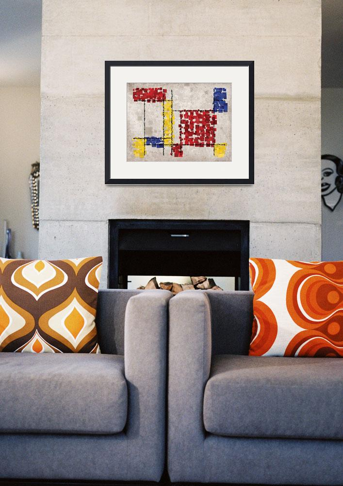 """""""Mondrian Inspired Squares&quot  (2010) by ModernArtPrints"""