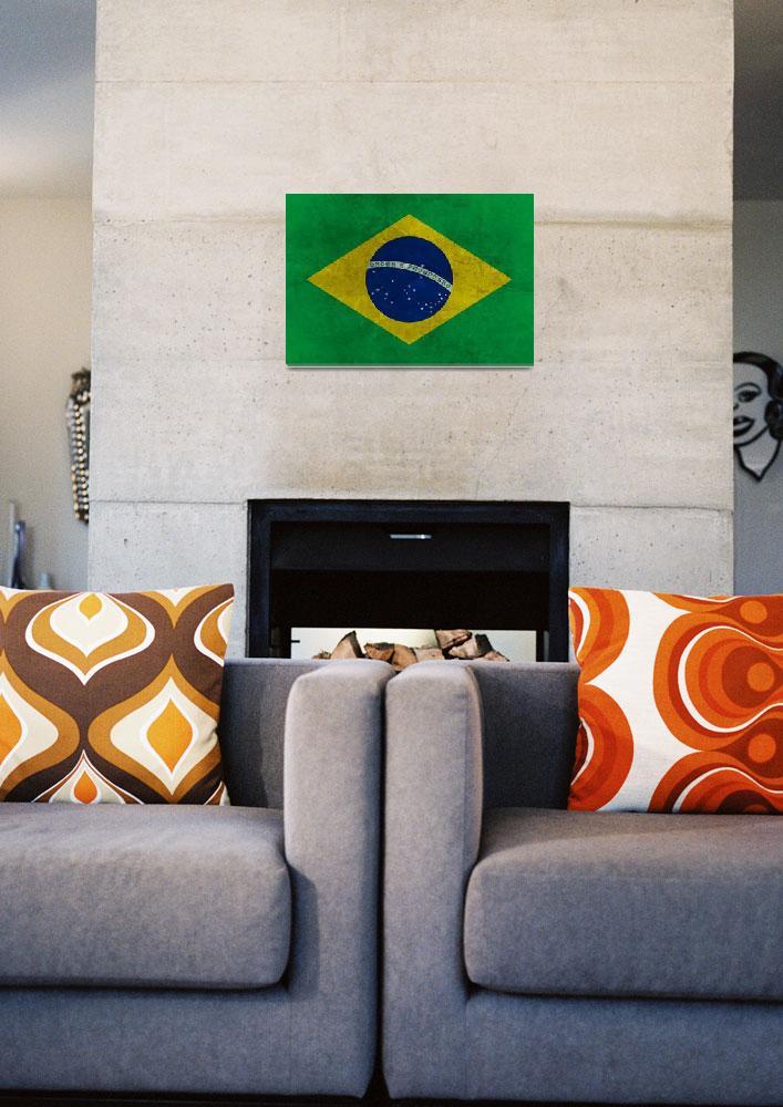 """Grunge Brazilian Flag""  (2013) by Almdrs"