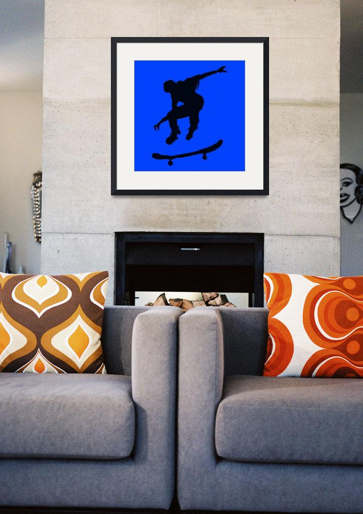 """Skateboarder 3 . blue black  (c)&quot  (2014) by edmarion"