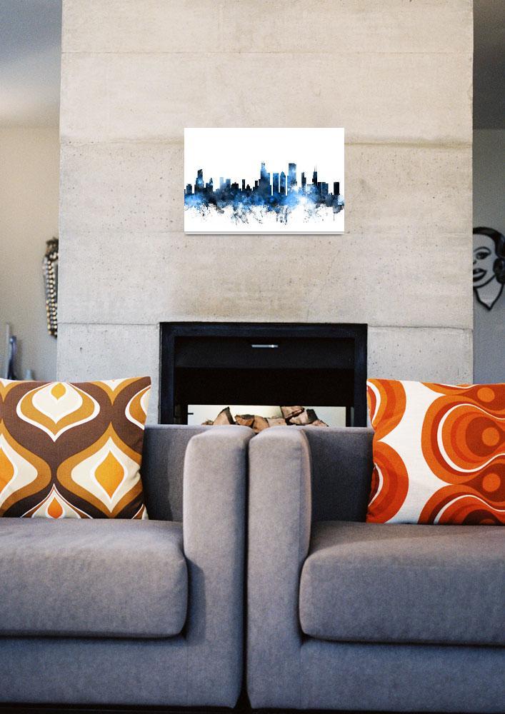 """Chicago Illinois Skyline""  (2014) by ModernArtPrints"