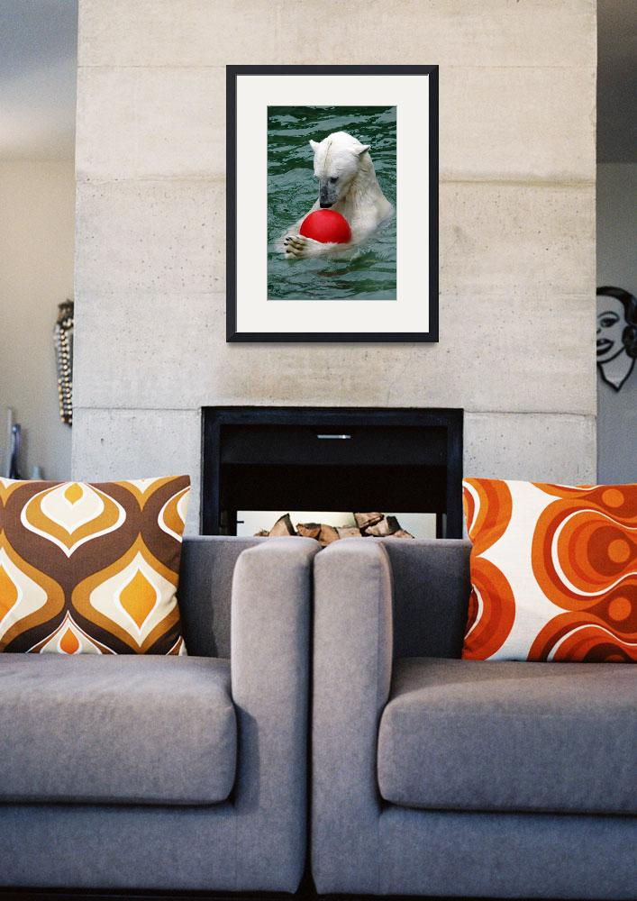 """""""Ice Bear playing with red ball&quot  (2010) by baechlergallery"""