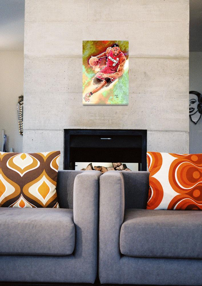 """LeBron James, Miami Heat, NBA Art by E. L. Vela&quot  (2011) by artofvela"