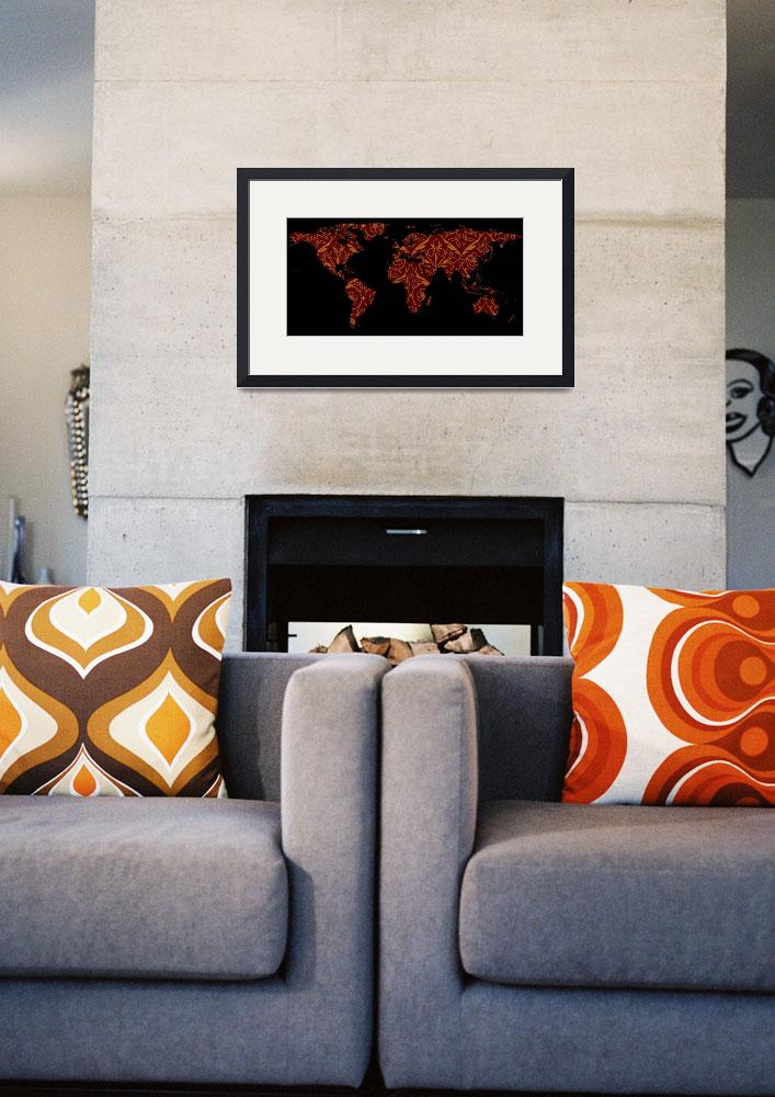 """""""World Map Silhouette - Orange & Red Floral Patten&quot  by Alleycatshirts"""