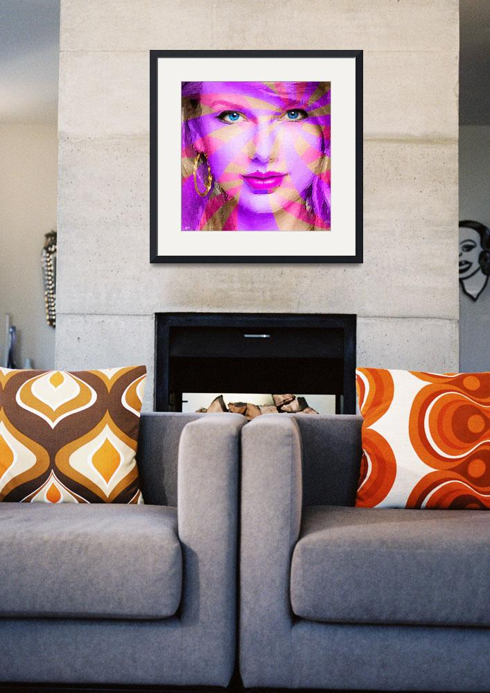 """Taylor Swift Pink Square&quot  (2015) by RubinoFineArt"
