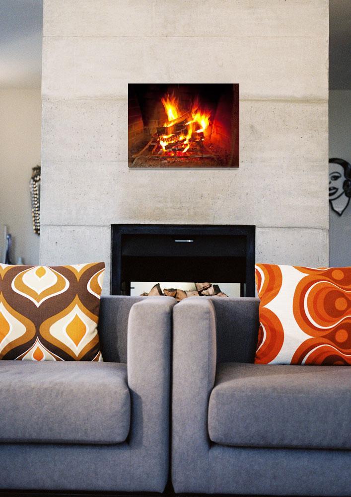 """Fireplace fire - warms any heart""  (2009) by MichaelKarasik"